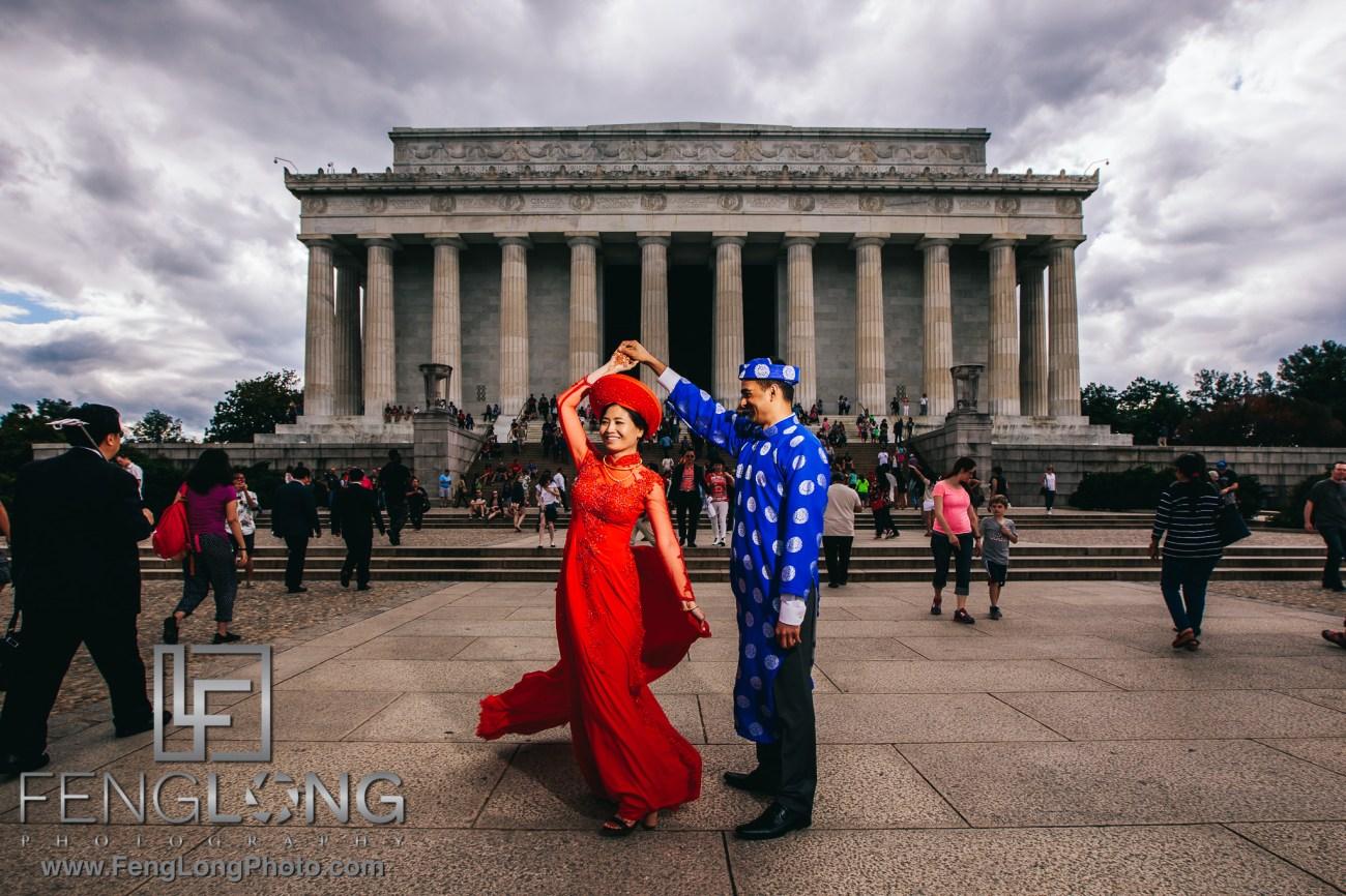 Fusion Vietnamese Indian Wedding in Washington, DC Ceremony at Lincoln Memorial