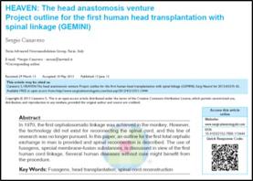 Comunicación científica que anuncia la potencialidad científico-tecnológica para realizar el primer trasplante íntegro de cabeza humana. Surgical Neurology International. 06 de noviembre de 2013.