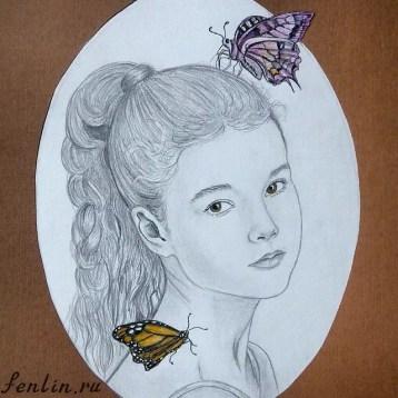 Портрет карандашом девочки с бабочками - Fenlin.ru