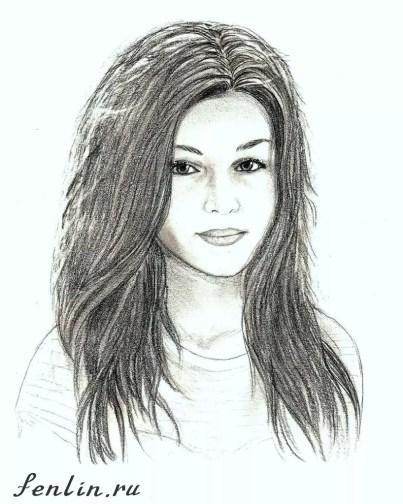 Портрет карандашом девушки с длинными волосами (скан) - Fenlin.ru