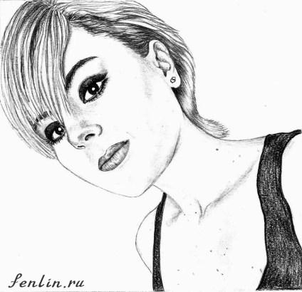 Портрет карандашом девушки с короткой стрижкой (скан) - Fenlin.ru