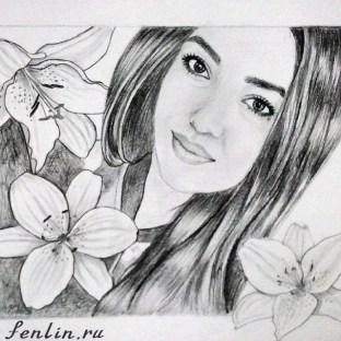 Портрет карандашом девушки с цветами (фото) - Fenlin.ru