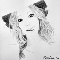 Портрет карандашом девушки в шляпке - Fenlin.ru
