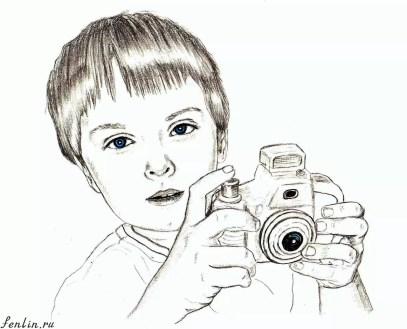 Портрет карандашом мальчика с фотоаппаратом - Fenlin.ru