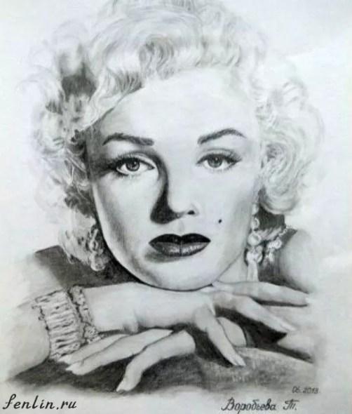 Портрет карандашом Мэрилин Монро (Marilyn Monroe) - Fenlin.ru