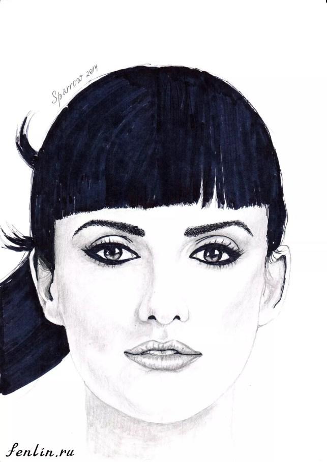 Портрет карандашом Пенелопы Крус (Penelope Cruz) - Fenlin.ru