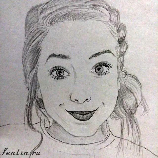 Портрет карандашом известной девушки блогера - Fenlin.ru