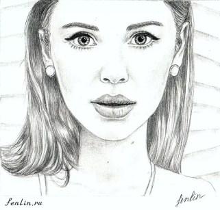 Портрет карандашом актрисы (скан) - Fenlin.ru