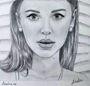 Портрет карандашом актрисы (фото) - Fenlin.ru