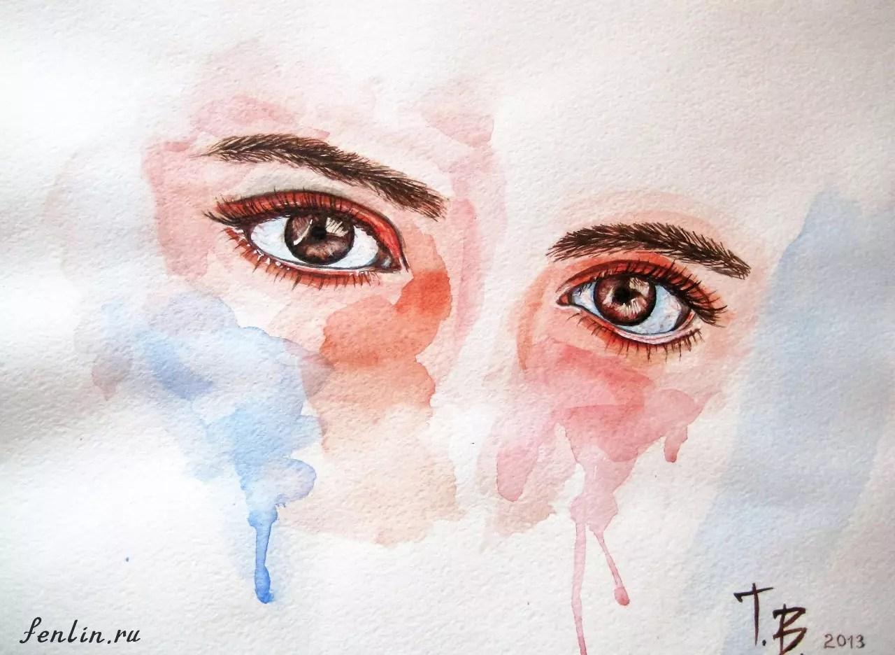 Цветной набросок акварелью женских глаз - Fenlin.ru
