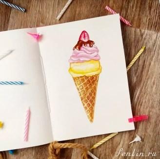 Цветной натюрморт карандашом мороженное - Fenlin.ru