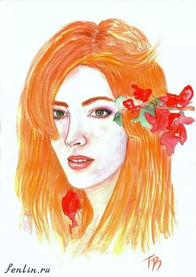 Цветной портрет акварелью девушки с цветами в волосах - Fenlin.ru