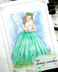 Цветной портрет акварелью феи с кроликом - Fenlin.ru
