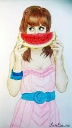 Цветной портрет карандашом девушки с арбузом (фото) - Fenlin.ru