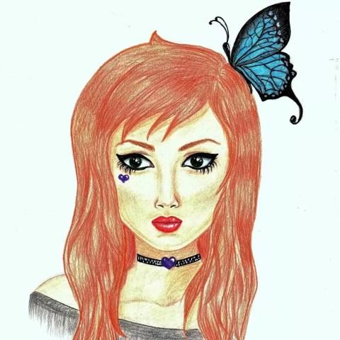 Цветной портрет карандашом девушки с бабочкой на волосах - Fenlin.ru