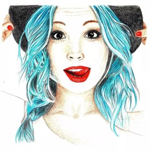 Цветной портрет карандашом девушки в шляпке - Fenlin.ru