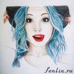 Цветной портрет карандашом девушки в шляпке (фото) - Fenlin.ru