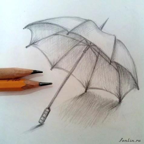 Как нарисовать зонтик карандашом? Шаг 10. Портреты карандашом - Fenlin.ru