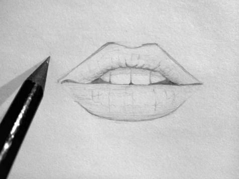 Как нарисовать губы карандашом? Шаг 7. Портреты карандашом - Fenlin.ru