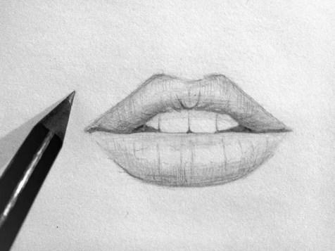Как нарисовать губы карандашом? Шаг 8. Портреты карандашом - Fenlin.ru