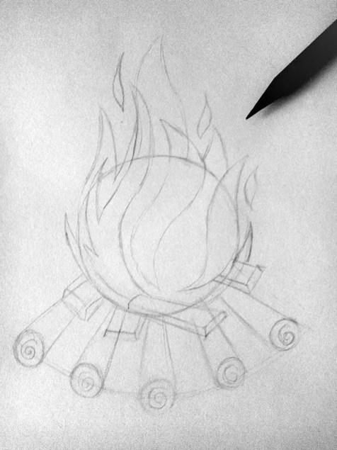 Как нарисовать огонь карандашом? Шаг 4. Портреты карандашом - Fenlin.ru