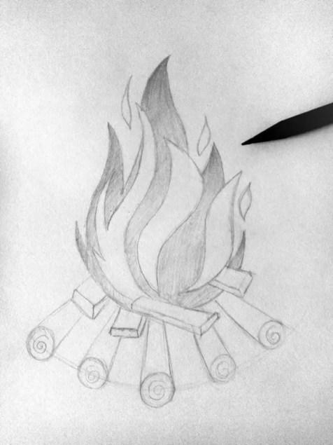 Как нарисовать огонь карандашом? Шаг 6. Портреты карандашом - Fenlin.ru