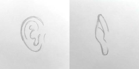 Основы рисования портрета карандашом. Ухо
