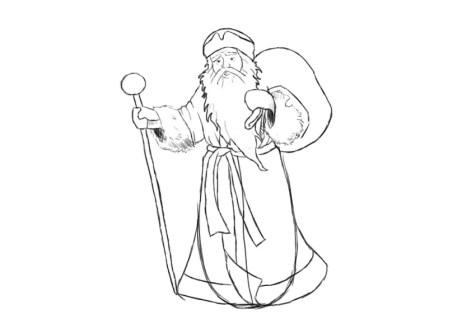 Как нарисовать Деда Мороза? Шаг 10. Портреты карандашом - Fenlin.ru