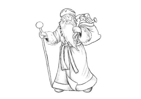 Как нарисовать Деда Мороза? Шаг 14. Портреты карандашом - Fenlin.ru