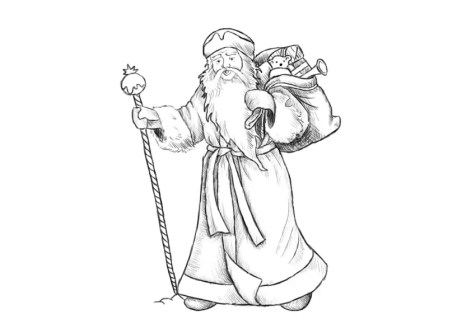 Как нарисовать Деда Мороза? Шаг 16. Портреты карандашом - Fenlin.ru