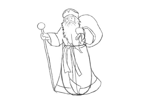 Как нарисовать Деда Мороза? Шаг 9. Портреты карандашом - Fenlin.ru