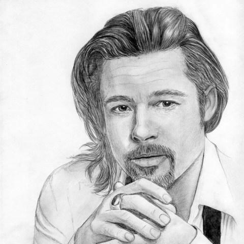 Портрет карандашом Бреда Питта (Brad Pitt) - Fenlin.ru