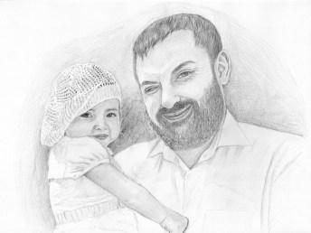 Портрет мужчины и девочки карандашом (формат A3) - портреты карандашом по фотографии FenLin.ru