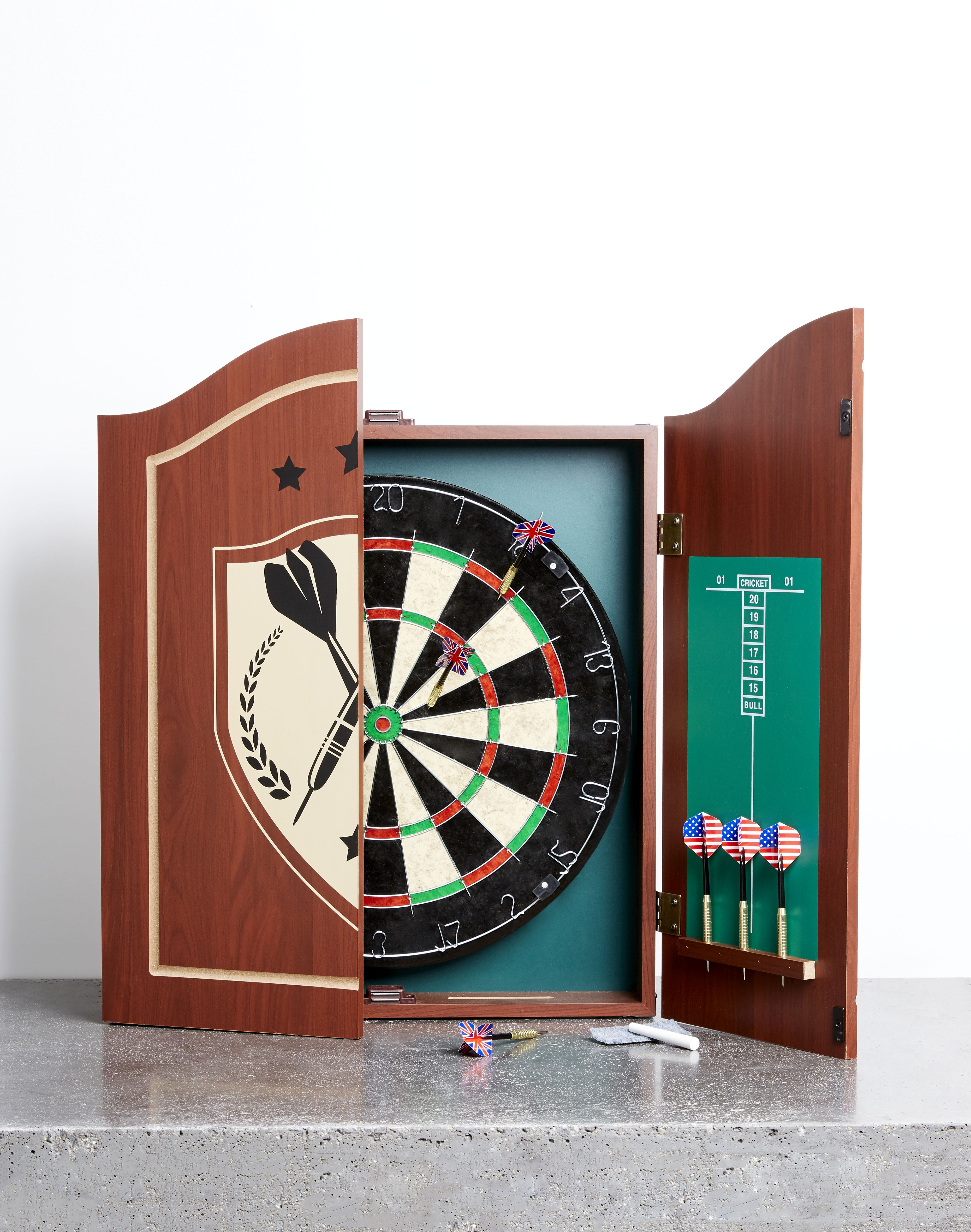 Kmart Wooden Dart Board with Cabinet, RRP$49.00