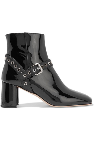 Miu Miu Eyelet-embellished patent leather ankle boots