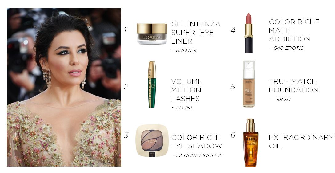 Get Eva's pretty pink look with these L'oreal products!