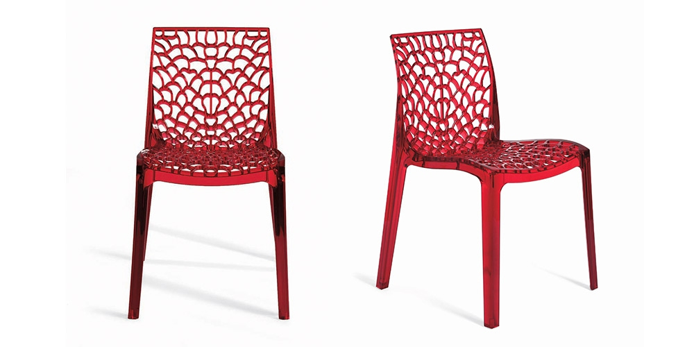Hunter Furniture continues the bold colour trend with the Pirello dinning chair. Having less of a visual impact the lattice pattern allows light to travel through the chair so as not to look to bulky.