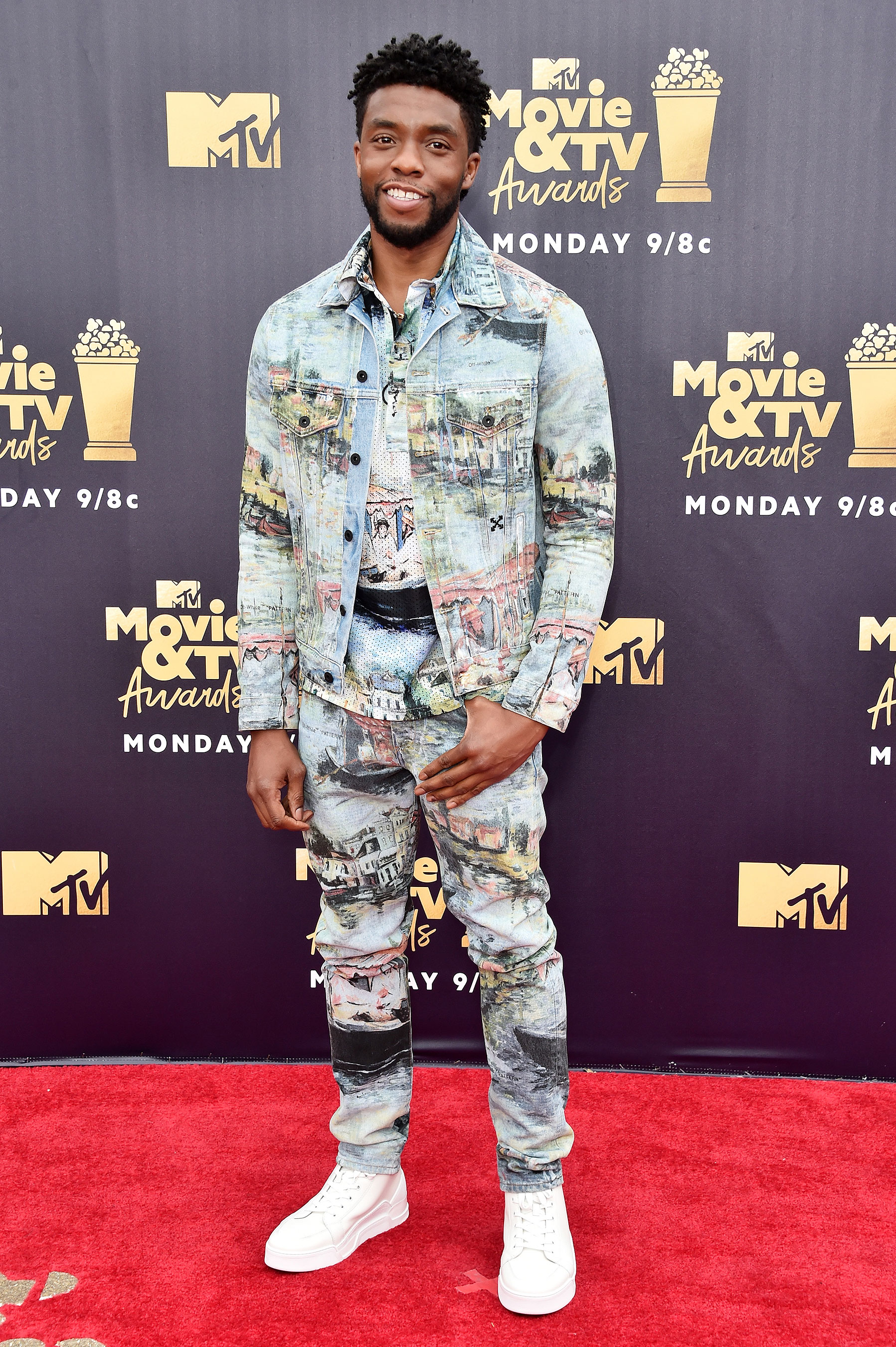 SANTA MONICA, CA - JUNE 16:  Actor Chadwick Boseman attends the 2018 MTV Movie And TV Awards at Barker Hangar on June 16, 2018 in Santa Monica, California.  (Photo by Alberto E. Rodriguez/Getty Images for MTV)