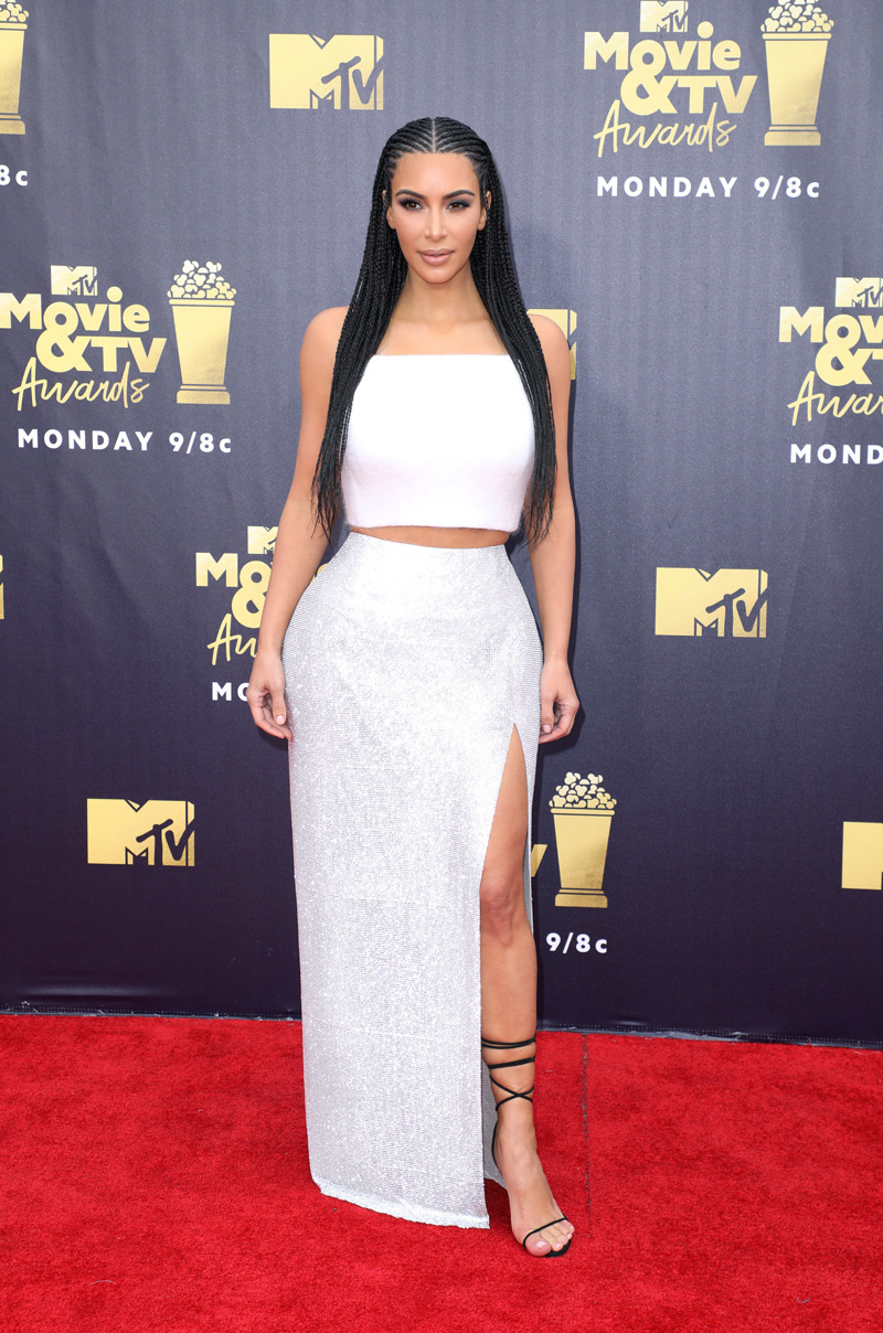 Mandatory Credit: Photo by Chelsea Lauren/REX/Shutterstock (9718369dm) Kim Kardashian West MTV Movie & TV Awards, Arrivals, Los Angeles, USA - 16 Jun 2018