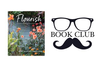 book cover of flourish - pink flowers in front of a blue wall
