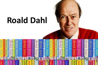 roald dahl with all his books