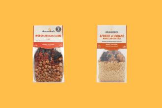 alexandra's fine foods morrocan tajine and mexican bean variants, against a pale orange background