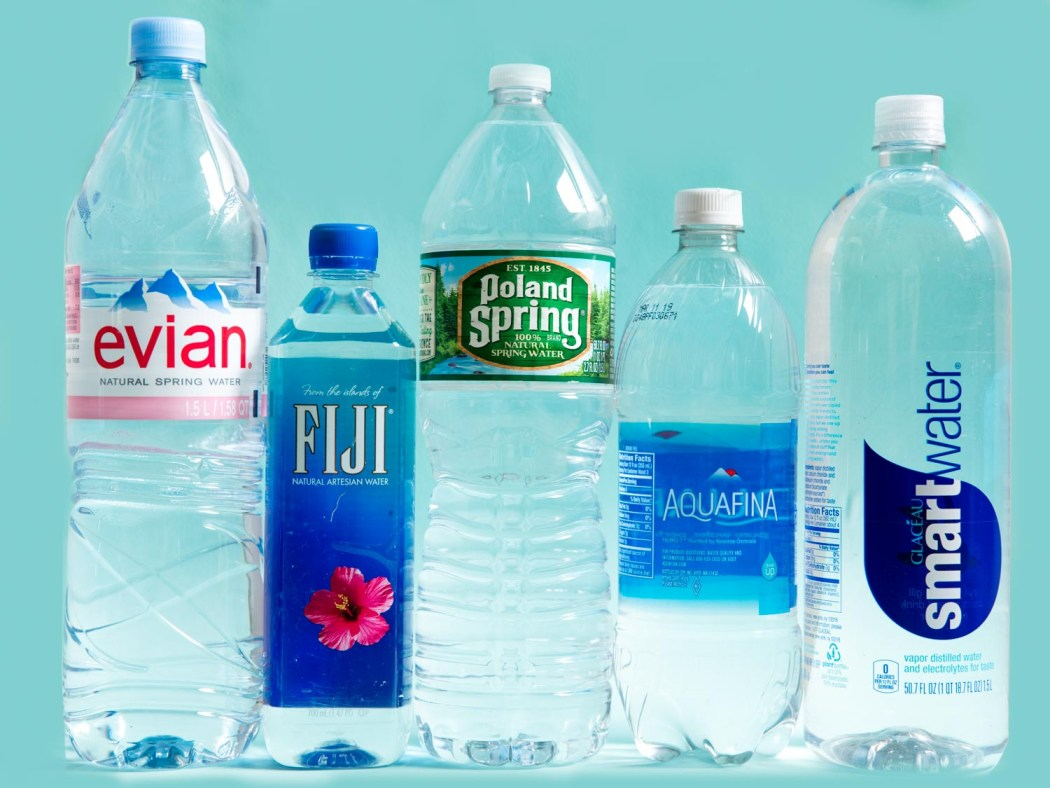 many different brands of bottled water