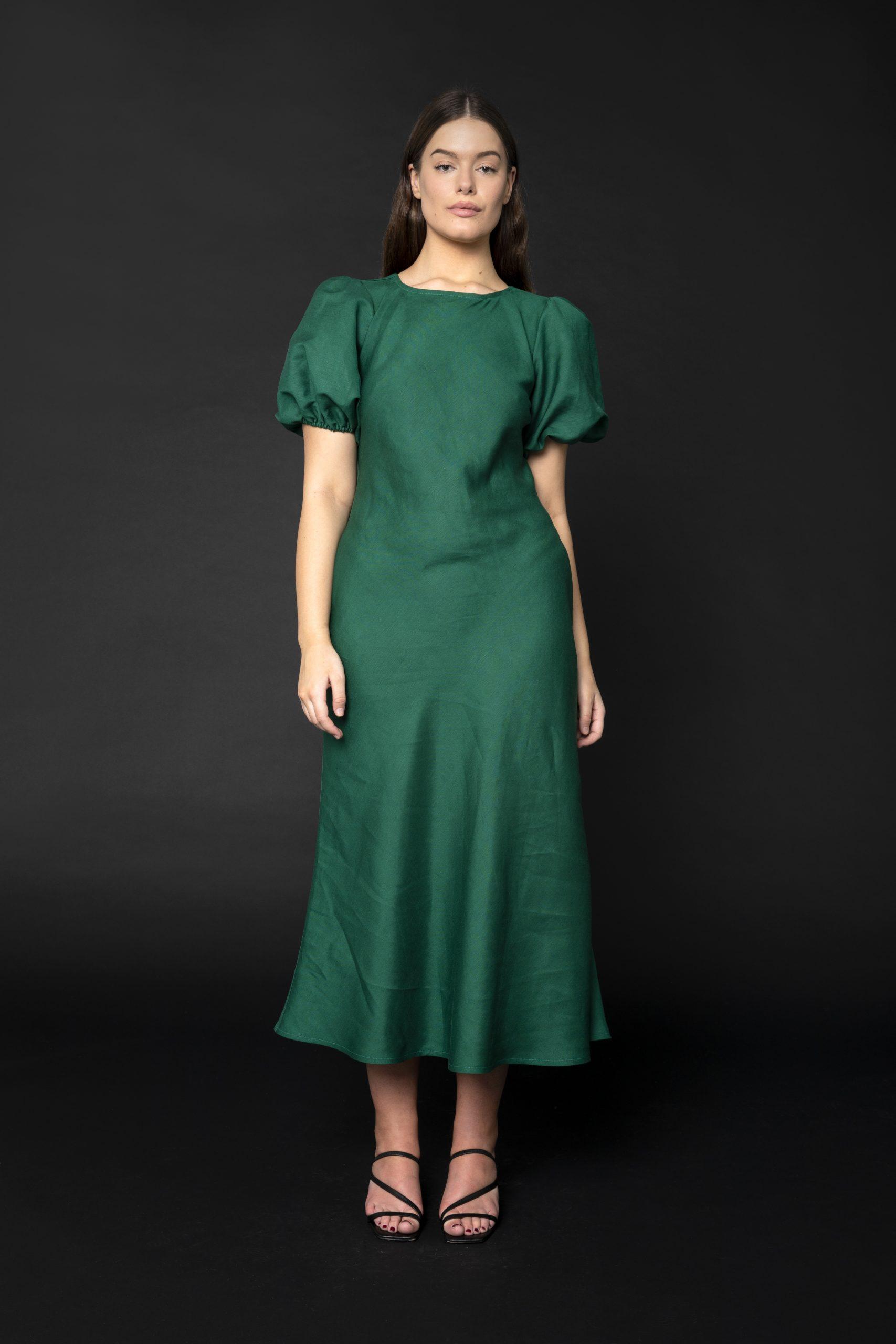 RUBY KENDALL LINEN DRESS GREEN - ELLA