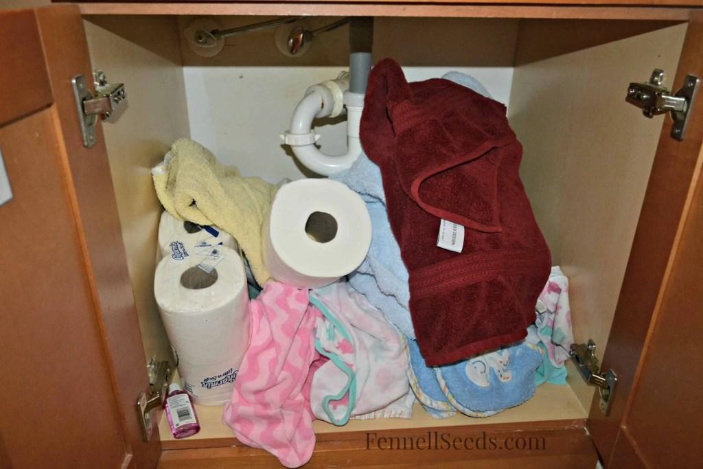 Bonus Cleaning - Boys Bath Cabinet Before