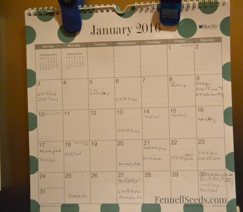 My 2016 Calendar