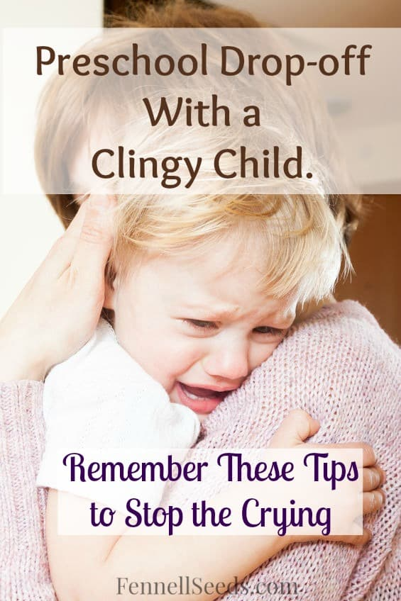 Clingy Child | Preschool Drop-off | 3 tips that helped my clingy daughter handle preschool drop-off. Whenever she starts to cry at drop-off I remember these steps and it goes back to a hug and a wave.