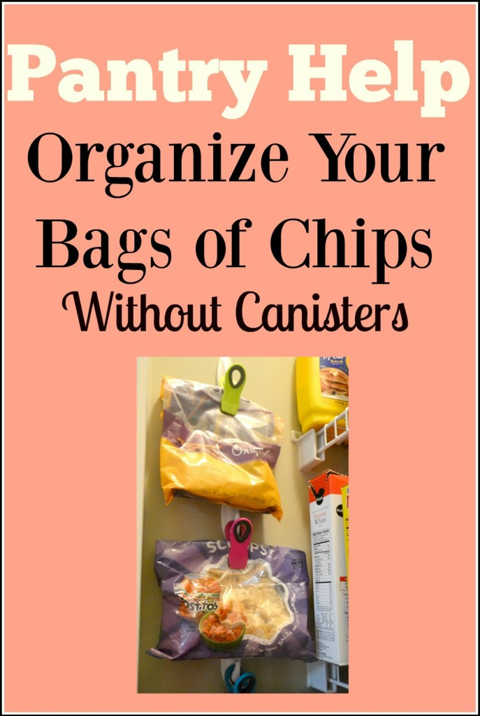 How to organize your bags of chips without using canisters. I had a mess of chips on my pantry shelf and with this quick change I can see everything I have and keep them stored off the shelf.