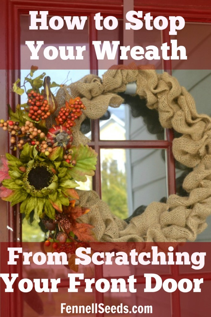 How to stop your wreath from scratching your front door. My front door was becoming so scratched whenever my kids were running through the door so my husband came up with this easy way to stop the paint from getting scratched.