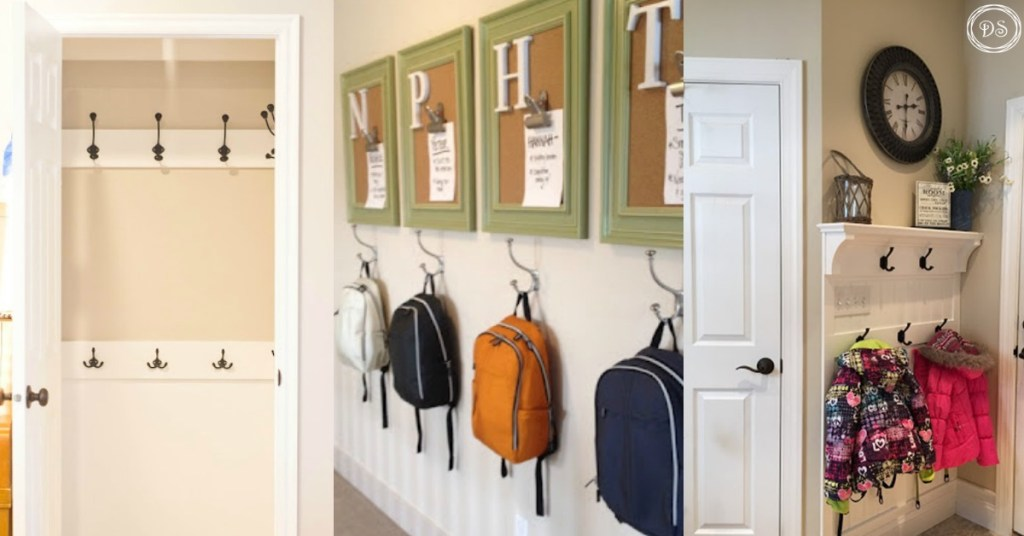 Backpack storage | Backpack storage ideas | Coat storage | Coat rack | coat hook | backpack hook | place for backpacks | mudroom ideas | mudroom organization